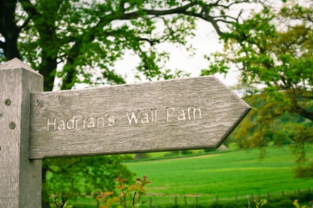 hadrian: Wooden sign for part of the Hadrians Wall Path in Northumberland, UK Stock Photo