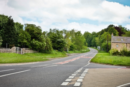unoccupied: Junction at a rural road in Northumberland, UK