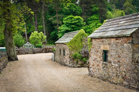 Stone huts in a rural village in England photo