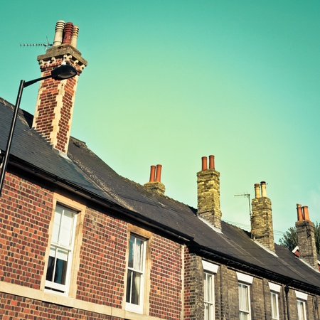 Terraced victorian houses in england in vintage tones photo