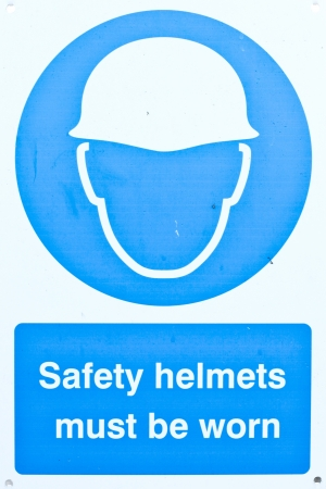 Health and safety warning sign at a construction site photo