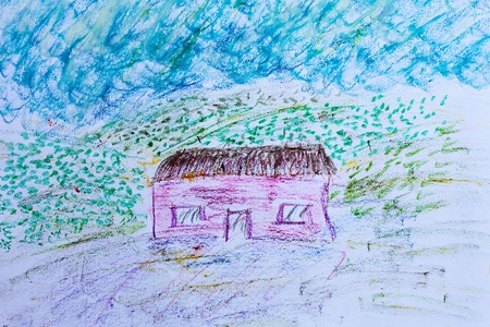 Childs drawing of a house with crayon Stock Photo - 21543420