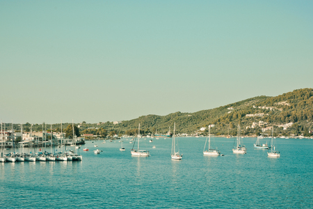 Harbour at Skiathos, Greece in vintage tones photo