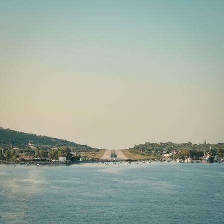 skiathos: View of runway at Skiathos on final apprach to land