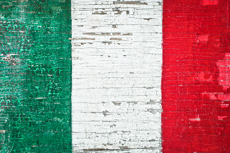 italian flag: Colors of the Italian flag painted on a weathered wood background Stock Photo