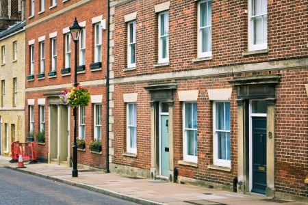 Row of Georgian town houses in Bury St Edmunds Editoriali
