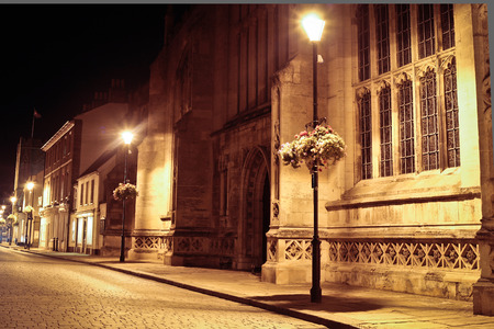 lampost: Medieval cathedral and steet at night with street lighting