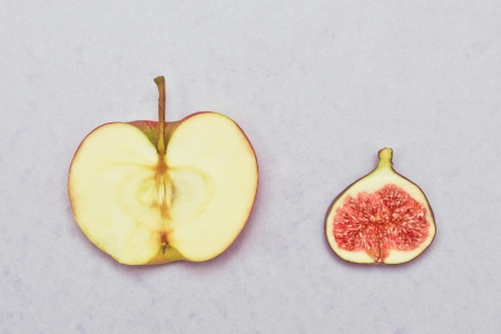 Slices of an apple and a fig on a lilac background photo
