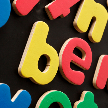 being the case: Be written in colorful magnetic toy letters
