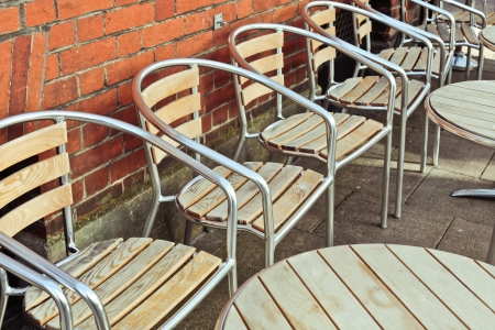 Modern tables and chairs outside a restaurant Stock Photo - 24884434