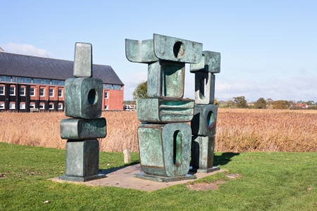 SNAPE - NOVEMBER 10:  Family Men sculpture in Snape, England on November 10, 2013. The Scultpure by Barbara Hepworth was loaned as a memorial to Benjamin Brittten in 1976.