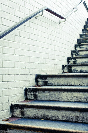 achievment: Stone steps and white wall in muted tones