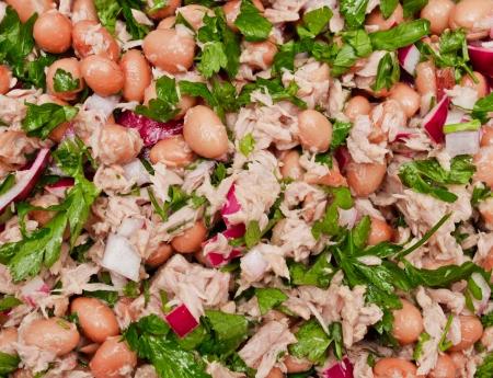 borlotti beans: Freshly made tuna and borlotti bean salad as a background