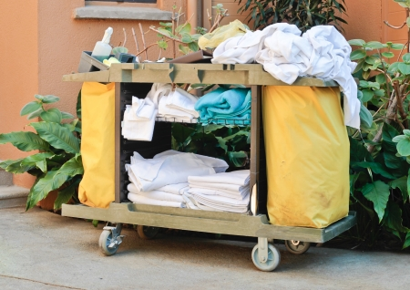 A housekeeping trolley at a tropical resort Stock Photo