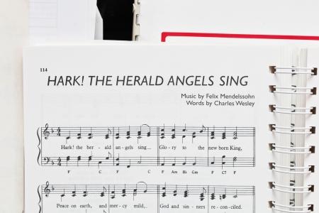 herald: UK –DECEMBER 21, 2013:  Music sheet for Hark the Herald Angels Sing,by Felix Mendelssohn