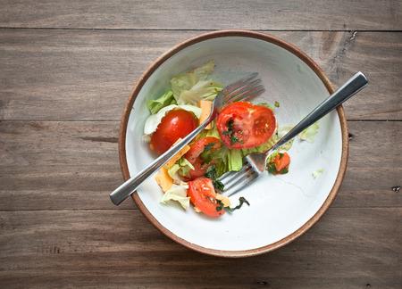 A half eaten fresh home meade salad