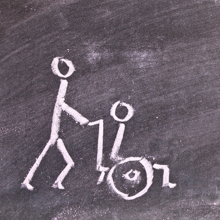 respite: Very simple chalk sketch depicting a carer pushing a disabled person in a wheelchair Stock Photo