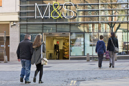 spencer: NORWICH, UK - FEBRUARY 21, 2014: Large branch of the Marks and Spencer department store chain in Norwich city centre. Editorial