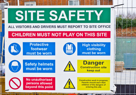 A safety sign at a construction site Stock Photo