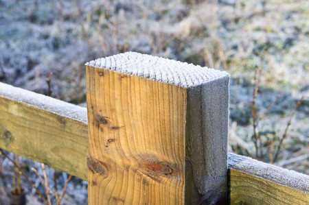 Frost on top of a wooden fence post photo