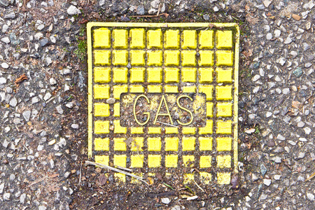 gas supply: Lid to an access point for a gas supply Stock Photo