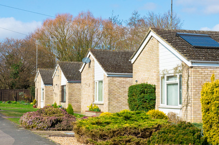 suburbia: Retirement bungalows in a suburban UK neighbourhood in spring
