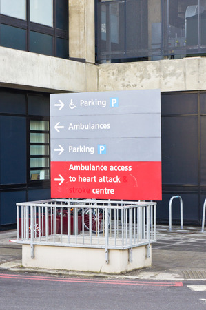 Sign for heart attach center at a british hospital