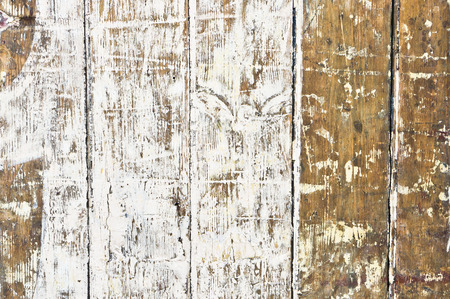 distressed wood: Peeling white paint on a wooden background Stock Photo