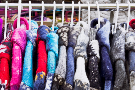 Colorful thick warm winter coats at a market