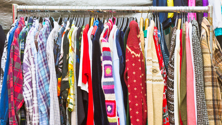 second hand: Second hand clothes on sale at a market