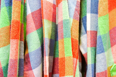 checked fabric: Colorful checked fabric with shallow depth of field