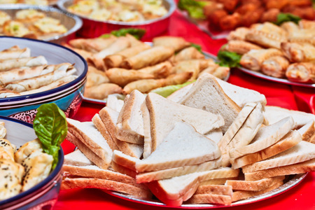 middle eastern food: Buffet of middle eastern food at a party Stock Photo