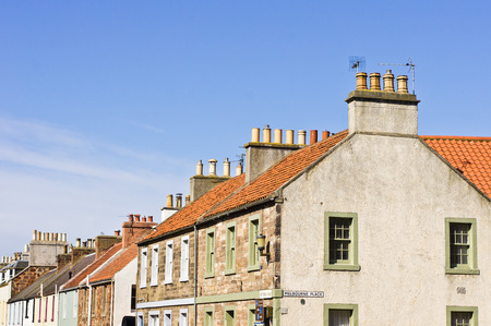 lothian: Row of colorful cottages in North Berwick, Scotland
