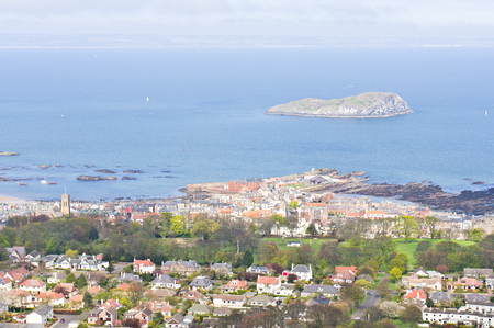 lothian: High up view of the town of North Berwick, Scotland, in April 2014 Stock Photo
