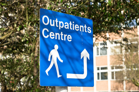 surgical department: A sign for the outpatients centre in a hospital Stock Photo