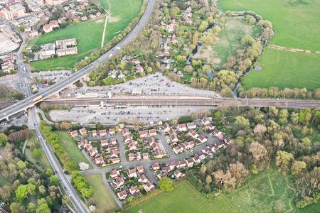 cambridgeshire: Aerial view of Huntingdon railway station in Cambridgeshire, UK