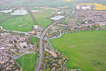 ouse: Aerial view of Huntingdon and Godmanchester in the UK with Portholme water meadow and the river Ouse Stock Photo