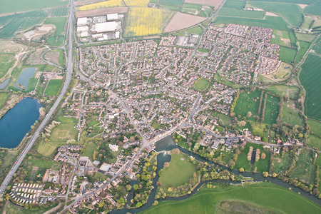 ouse: Aerial view of Godmanchester in England, with the river Ouse and Portholme water meadow