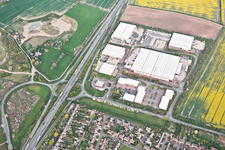 Aerial view of a group of warehouses in Cambridgeshire, UK