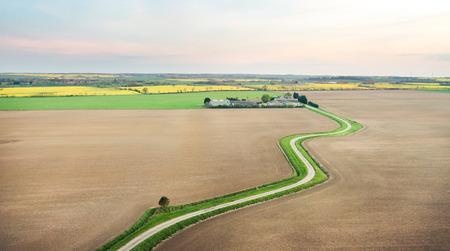 Rural farmland in Cambridgeshire, UK in spring photo