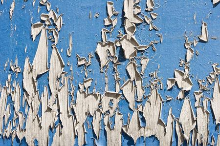 peeling paint: Legno blu esposto all'aria con la vernice scrostata