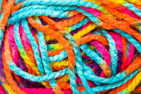 Close up of multi-colored wool thread as a background