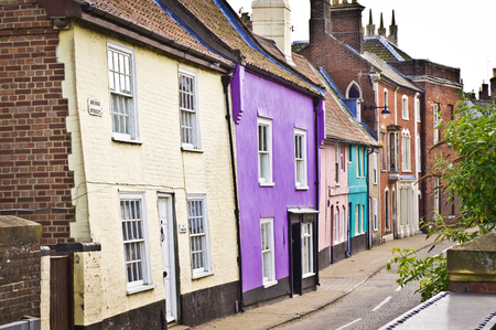 violet residential: Colorful town houses in Bungay, Suffolk
