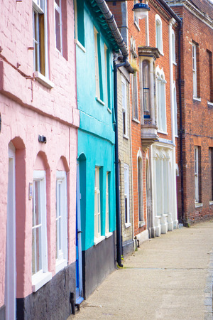 neighbours: Colorful town houses in Bungay, Suffolk