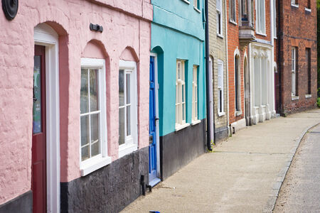 Colorful town houses in Bungay, Suffolk photo
