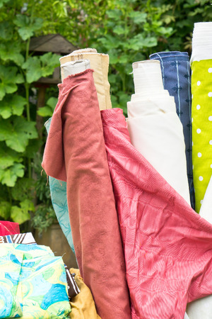 second hand: Second hand textiles on sale at a flea market