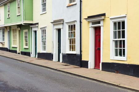 bury: Colorful old town houses in Bury St Edmunds, England Stock Photo