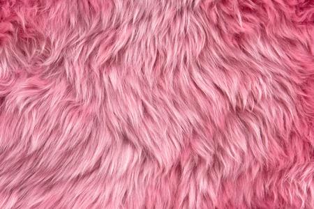 Close up of a pink dyed sheepskin rug as a background Standard-Bild