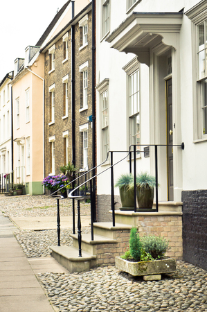 Row of town houses in Bury St Edmunds, UK photo