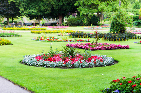 A landscaped public garden in the summer Stock Photo